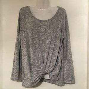 SOCIALITE Tie Front Gray Marbled Top XL